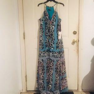 Hale Bob Sheer Animal Print Maxi Dress Size L NWT